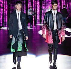 Dsquared2 2016-2017 Fall Autumn Winter Mens Runway Catwalk Looks - Milano Moda Uomo Collezione Milan Fashion Week Italy - Japanese Samurai Bushido Motif Hakama Umanori Kilt Manskirt Manga Anime Kanji Geisha Flowers Floral Print Graphic Denim Jeans Cargo Pockets Zipper Oversized Outerwear Coat Parka Quilted Metallic Silver Slim Pants Trousers Bomber Tuxedo Jacket Blazer Shorts Mandarin Chinese Collar Pleats Plaid Tartan