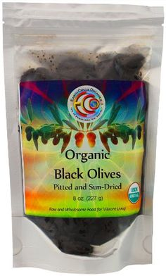 """""""Organic Black Olives Pitted and Sun-Dried"""" Ingredients: organic olives, organic olive oil, sea salt. [Be Aware: Always Check The Actual Product Label In Your Possession For The Most Accurate Ingredient Information Before Use Due to Potential Changes.]"""