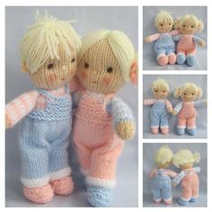 Jack and Jill doll knitting pattern  Pdf INSTANT DOWNLOAD