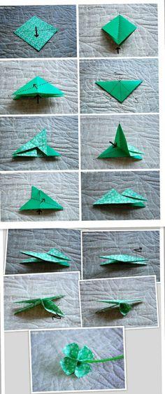 可爱精致幸运草折纸图片教程