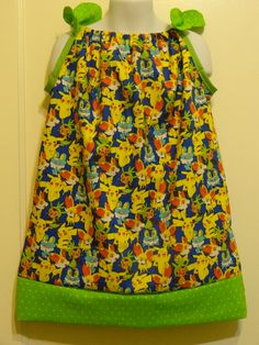 Pokemons All Over Girls Pillowcase Dress, Made to Order Size 6m, 12-18m, 18-24 months, and Size 2 to 8, Pikachu, Charmander + by DesignsByGranGran on Etsy