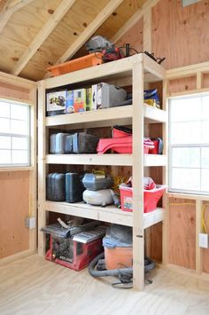 Shed DIY - shed storage ideas DIY heavy duty wood shelves Now You Can Build ANY Shed In A Weekend Even If You've Zero Woodworking Experience! Storage Shed Organization, Storage Shed Kits, Diy Garage Storage, Garage Shelf, Storage Spaces, Storage Ideas, Backyard Storage, Organizing Ideas, Garage Workbench