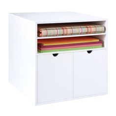 Organizer Cube: Modular stacking White painted finish Includes two drawers and a removable shelf Constructed of durable, high quality MDF fiberboard Assembly required Material conform to CARB regulation Craft Storage Solutions, Craft Room Storage, Storage Boxes, Locker Storage, Storage Systems, Storage Area, Scrapbook Room Organization, Craft Organization, Scrapbook Storage
