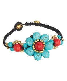 Another great find on #zulily! Red & Turquoise Magnesite Floral Bell Bracelet #zulilyfinds
