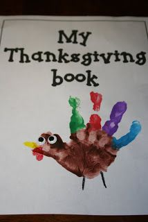 Story book of the first Thanksgiving that kids can make themselves- each page is just one sentence and a simple craft to illustrate.