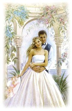 Kort brudepar med konvolut