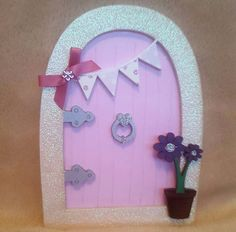Fairy Door Wooden Pink Glitter Fairy Faerie by TheLittleFairydoor