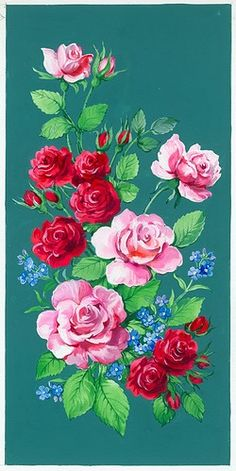Pink and red roses and forget-me-nots on blue-green background