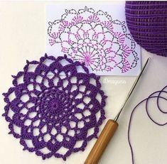 crochet mandala pattern Draiguna: Arcanoweave Part 1 Motif Mandala Crochet, Crochet Circles, Crochet Doily Patterns, Crochet Diagram, Crochet Chart, Crochet Squares, Thread Crochet, Filet Crochet, Crochet Dollies