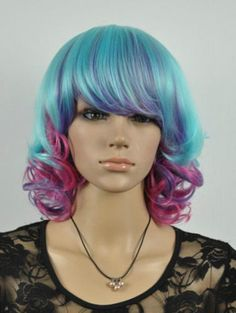 2014 cos Multi-Color mix short curly Cosplay  WIG