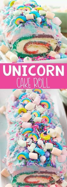 Cake Roll - an easy cake roll recipe that is all things rainbow and UNIC. Unicorn Cake Roll - an easy cake roll recipe that is all things rainbow and UNIC. , Unicorn Cake Roll - an easy cake roll recipe that is all things rainbow and UNIC. Mini Desserts, Just Desserts, Delicious Desserts, Party Desserts, Party Unicorn, Unicorn Birthday, Cake Roll Recipes, Unicorn Foods, Unicorn Cakes