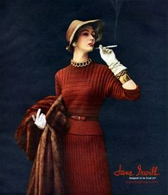 50s red knit day dress sweater skirt outfit Suit print ad model