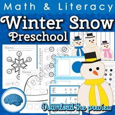 Winter Snow Preschool Math & Literacy Activities from Selma Dawani on TeachersNotebook.com (65 pages)  - A total of 16 math, literacy and fine motor activities for your preschool students. All activities are differentiated for different skill levels. Your students are sure to enjoy this unit this winter while they measure, sort and match. These are not just