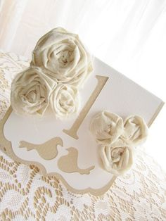 Vintage Inspired Ivory and White Rosette by milkdustcreations