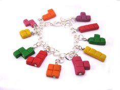 Tetris charm bracelet gamer bracelet geekery by Mandyscharms, £10.00