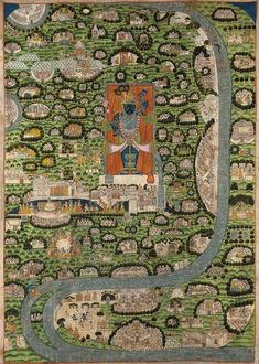 """A Pichhavai of the Vraj Parikrama Jatra. The central orange panel illustrating Krishna as Shrinathji Pichwai Paintings, Indian Paintings, Om Namah Shivaya, Rajasthani Art, Indian Illustration, Krishna Art, Shree Krishna, Happy Friendship Day, Indian Folk Art"
