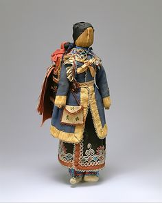 Mother-and-Child Doll Date: 1870–80 Geography: United States or Canada, New York or Ontario Culture: Seneca Medium: Corn husk, cotton, wool, Native-tanned skin, glass,