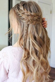 A Boho Festive Look: Headband Double Braid and Waves � A headband braid, also known as a crown or a halo braid, is a cute half updo or updo hairstyle with a braid around a head. And as for the type of a braid involved, any braid would do here. Make a choice based on your taste. � Check out the gallery!