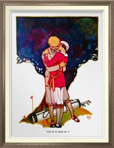 Golfing Couple - Archival Print. Vintage 1924 Judge magazine cover reproduced as a watercolor print on archival heavyweight paper. One for the golfer's wall https://www.zazzle.com/golfing_couple_archival_print-228790218969008621 #golf #art #print #1924 #romance #ValentinesDay