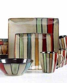 16 pc modern square dinnerware set dinner plate bowl striped earthen ware dishes - Square Dinner Plates