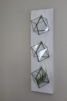 Planters glass Set Of 3 Hanging Planters Geometric Glass Terrarium Wall Mounted Air Plant Succulent Holder Indoor Planter Vertical Garden Rustic Boho Decor