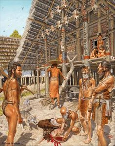 Reconstruction of life in a Linear Pottery Culture village by Karol Schauer
