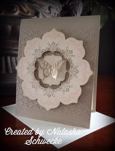 handmade card: Golden Vellum Butterfly by Natasha Schwecke ... Label Bracket Punch fit into the space inside the Floral Frames Framelits flower   ... luv the neutral colors with gold ... elegant card ... Stampin' Up!