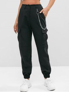 Flap Pockets Chain Jogger Pants BLACK , Effective Pictures We Offer You About Women Pants classic A quality picture can tell you many things. You can find the most beautiful pictures that can be prese Teen Fashion Outfits, Edgy Outfits, Cute Casual Outfits, Fashion Pants, Girl Fashion, Ski Fashion, Style Fashion, Fashion Women, Sporty Fashion