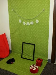 winter photo booth ..simple w/wrapping paper backdrop, can add anything