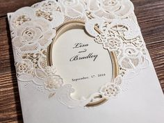 25 x Gold and White Lace Wedding Invitation. Laser Cut Paper Cut Wedding Invitation. Gold Foil and Lace. by PaperBoundLove on Etsy