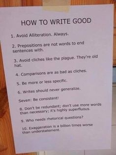 Do you always avoid alliteration? Do you know what prepositions end sentences with? These writing tips are must-see for everyone. Book Writing Tips, Cool Writing, Writing Help, Creative Writing, Writing Guide, Script Writing, Start Writing, Writing Ideas, Writing Promts