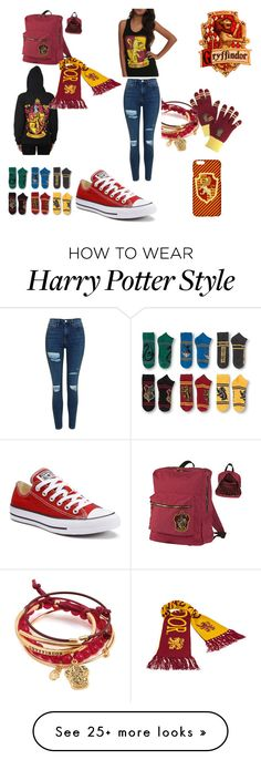 """Gryffindor "" by rileykitty on Polyvore featuring Converse and Topshop"