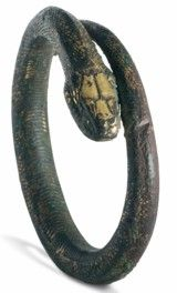 A photo of a stunning bronze bracelet with a serpent motif. Snake Bracelet, Snake Jewelry, Gold Jewellery, Or Antique, Antique Jewelry, Cairo, Ancient Egyptian Jewelry, Egypt Jewelry, Religion