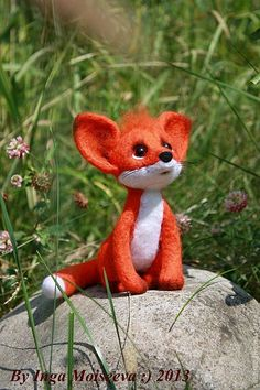 Войлочный лисенок Грустняшка - рыжий,лис,лисенок,лисица,Авторские игрушки