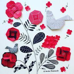 おはなとフォークロアな模様のトリさん Flowers and folklore birds. . . #origamiart #origami #illustration #collage #papercraft #paperflower #bird #folklore #redflower #nanatakahashi #折り紙 #ペーパークラフト #イラスト #コラージュ #お花 #ことり #フォークロア #あかい花 #たかはしなな