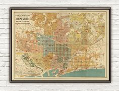 Old Map of Barcelona, Spain Cataluña 1930 Vintage map BarcelonaPlano Guia de BarcelonaThis is a reproduction of an highly detailed map. The Map has 24 x 33.It includes an extra 0,2 white borderThe map is printed on fine matte museum archival paper...