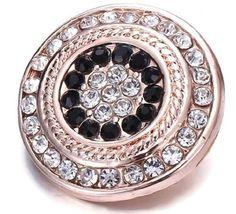 Gold Black Rhinestone Snap Button Charm