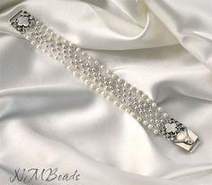 OOAK Fine Silver Woven Cuff Bracelet With by NMBeadsJewelry
