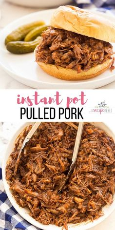 This Instant Pot Pulled Pork is made with SIX ingredients and is full of flavor! Pulled Pork Instant Pot Recipe, Pulled Pork Recipes, Best Instant Pot Recipe, Instant Pot Dinner Recipes, Crock Pot Pulled Pork, Instant Pot Meals, Sweet Pork Recipe, Easy Pulled Pork, Instant Recipes