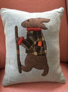 Applique Wool Throw Pillow