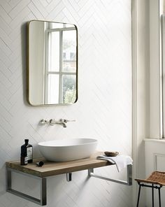 Explore all of the options for your bathroom sink! See beautiful modern bathroom sinks, the perfect sink for small bathrooms ideas, and how to compliment any bathroom vanity with the best sink for you. Large Bathrooms, Small Bathroom, Master Bathroom, Bathroom Sinks, Bathroom Wall, Metro Tiles Bathroom, Cloakroom Sink, Bathroom Ideas, White Bathrooms