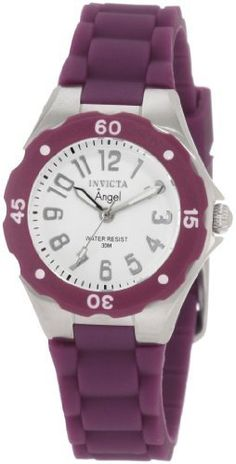 Invicta Women's 1615 Angel White Dial Grape Silicone Watch Invicta. $53.95. Flame-fusion crystal; brushed and polished stainless steel case; grape silicone strap. Swiss quartz movement. Silver tone second hand. White dial with silver tone hands and arabic numerals; grape plastic bezel with white arabic numerals. Water-resistant to 30 m (99 feet). Save 89% Off!