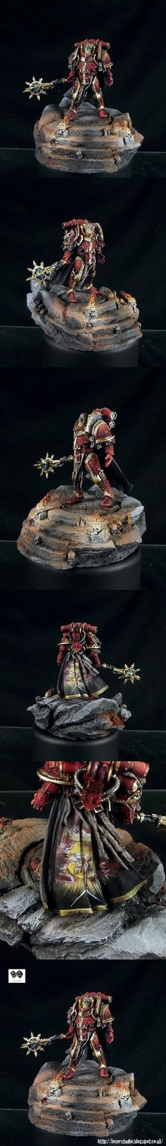 Warhammer 40k/30k, Chaos Space Marines, Lorgar, Primarch of the Word Bearers - at the height of the Horus Heresy. Wonderful subdued lighting on this model!