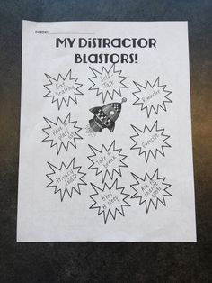 Ms. Sepp's Counselor Corner: Free Distractor Blaster Handout and Distractors in and out of our head