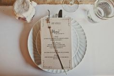 natural kraft, rustic wedding menu card ideas: Rustic Beach to Barn Wedding :: http://www.weddingchicks.com/2013/05/02/rustic-beach-to-barn-wedding/ Photographer: Teale Photography Venue: Dos Pueblos Ranch  Cake: Your Cake Baker Caterer: Country Catering Company Coordinator: Joie De Vivre Wedding & Events Lighting: Vastola Electric Stationery: CherishPaperie.com Flowers: Shelley Schulte & Co