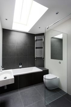 12 Black Bathroom Floor Ideas Black Bathroom Floor Ideas - Get Inspired with 25 Black and White Bathroom Design Ideas Modern black and white bathroom with black tile & matte House, Bathroom Renos, White Bathroom, Black Bathroom Floor, Bathroom Flooring, Slate Bathroom, Bathrooms Remodel, Bathroom Design, Large Bathrooms