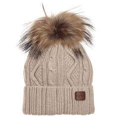 Jamiks Beige Wool Pompom Hat. Shop from an exclusive selection of designer  Hats Designer Hats 23e96dc7c9ae