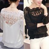 Hot Lady Women Chiffon Lace Hollow 3\4 Sleeve Blouse Top Shirt S/M/L/XL/XXL U79