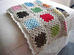 Custom Made Block Colour Granny Square Baby Blanket in Organic Merino Wool