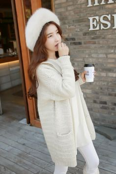 [MIAMASVIN] EXTRA LONG KNIT CARDIGAN WITH CAPE